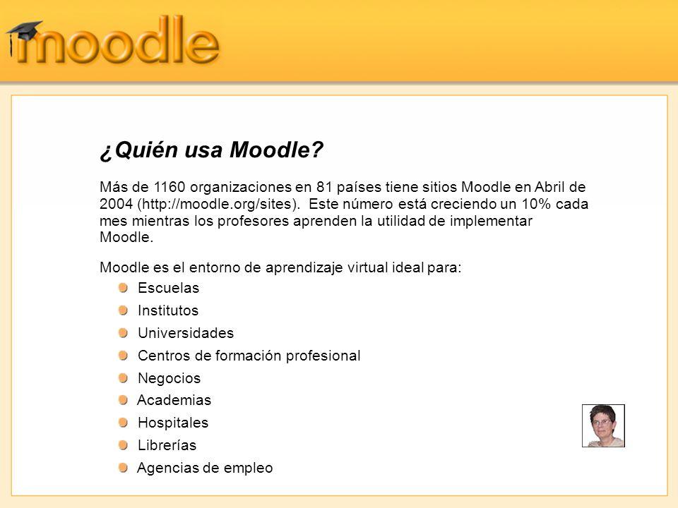 Más de 1160 organizaciones en 81 países tiene sitios Moodle en Abril de 2004 (http://moodle.org/sites).