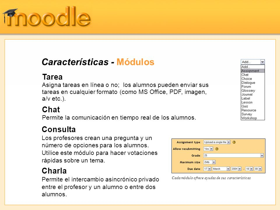 Características - Módulos Tarea Asigna tareas en línea o no; los alumnos pueden enviar sus tareas en cualquier formato (como MS Office, PDF, imagen, a/v etc.).