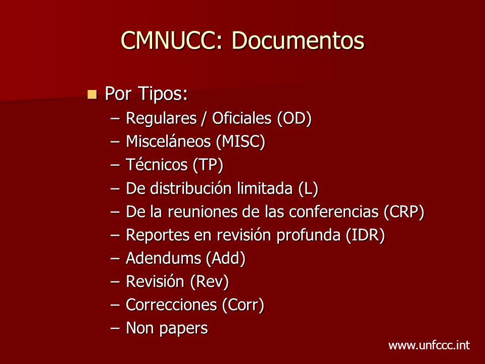 CMNUCC: Documentos Por Tipos: Por Tipos: –Regulares / Oficiales (OD) –Misceláneos (MISC) –Técnicos (TP) –De distribución limitada (L) –De la reuniones