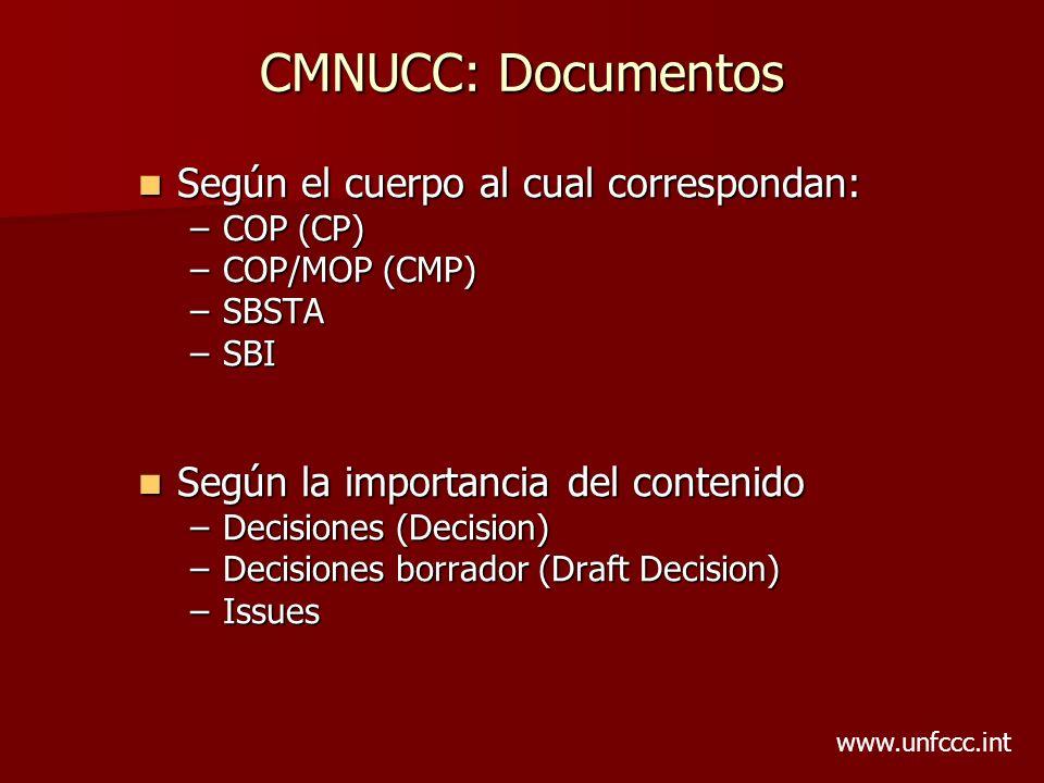 CMNUCC: Documentos Según el cuerpo al cual correspondan: Según el cuerpo al cual correspondan: –COP (CP) –COP/MOP (CMP) –SBSTA –SBI Según la importanc