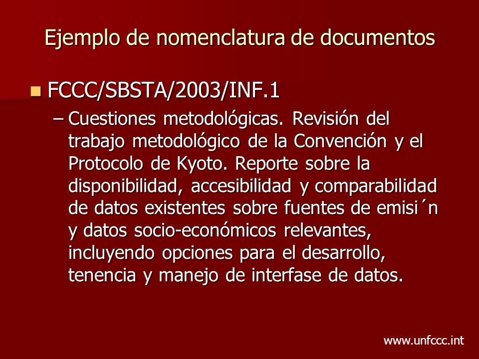 Ejemplo de nomenclatura de documentos FCCC/SBSTA/2003/INF.1 FCCC/SBSTA/2003/INF.1 –Cuestiones metodológicas. Revisión del trabajo metodológico de la C