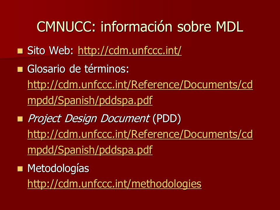CMNUCC: información sobre MDL Sito Web: http://cdm.unfccc.int/ Sito Web: http://cdm.unfccc.int/http://cdm.unfccc.int/ Glosario de términos: http://cdm