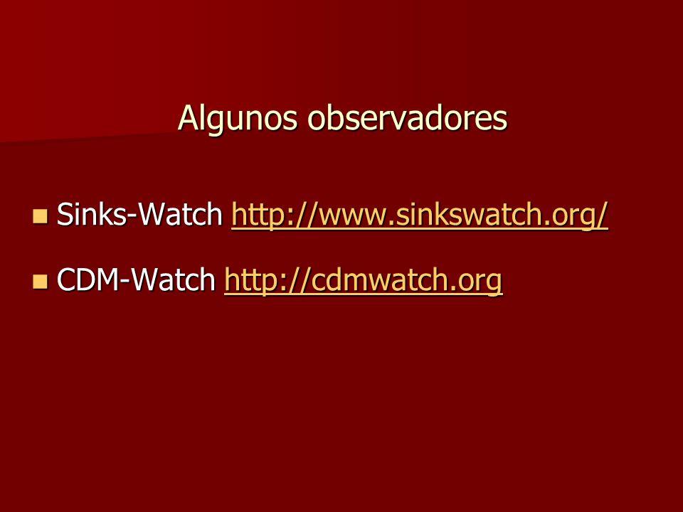 Algunos observadores Sinks-Watch http://www.sinkswatch.org/ Sinks-Watch http://www.sinkswatch.org/http://www.sinkswatch.org/ CDM-Watch http://cdmwatch