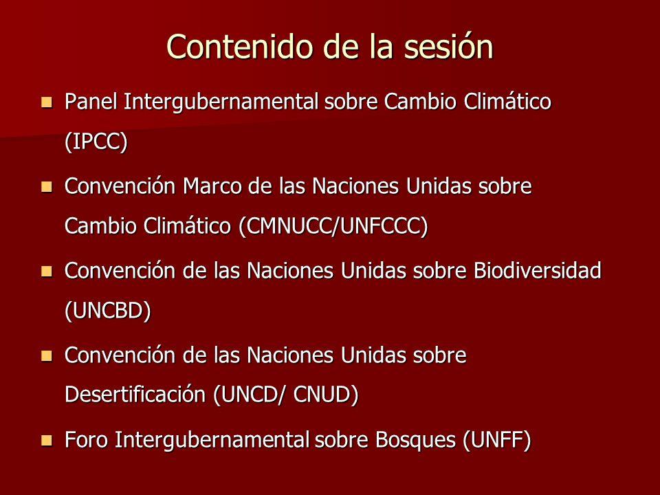 Contenido de la sesión Panel Intergubernamental sobre Cambio Climático (IPCC) Panel Intergubernamental sobre Cambio Climático (IPCC) Convención Marco