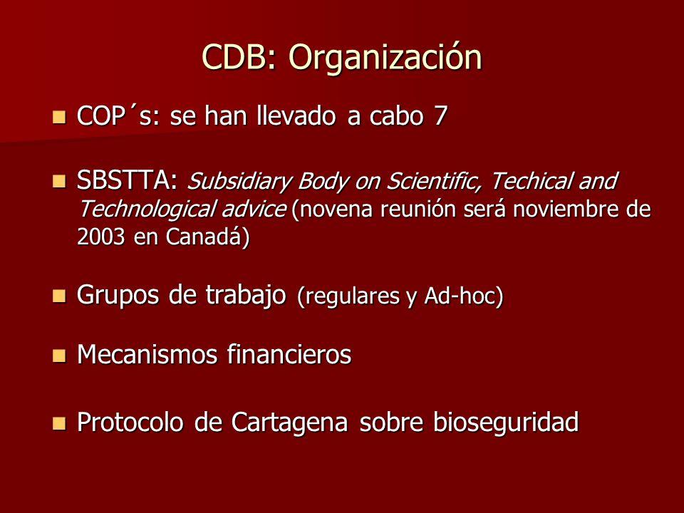 CDB: Organización COP´s: se han llevado a cabo 7 COP´s: se han llevado a cabo 7 SBSTTA: Subsidiary Body on Scientific, Techical and Technological advi