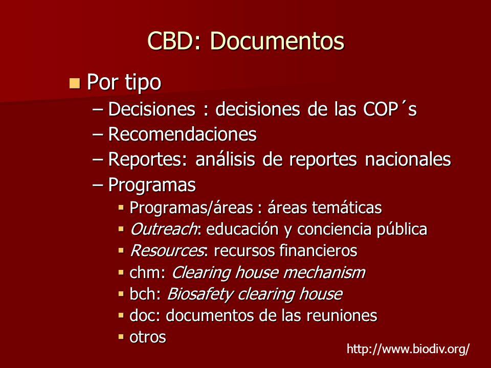 CBD: Documentos Por tipo Por tipo –Decisiones : decisiones de las COP´s –Recomendaciones –Reportes: análisis de reportes nacionales –Programas Program