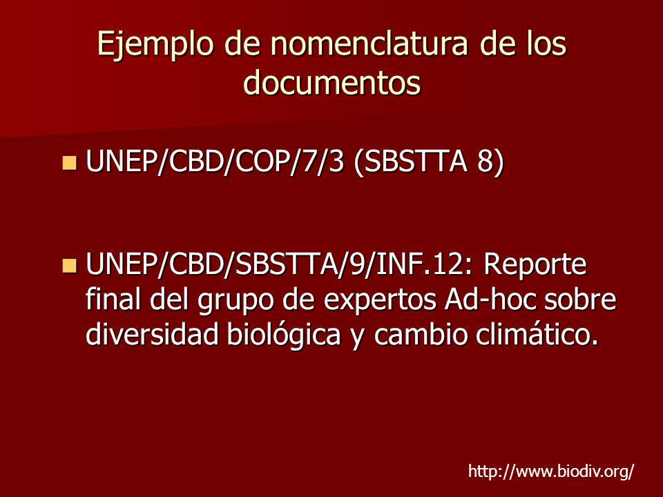 Ejemplo de nomenclatura de los documentos UNEP/CBD/COP/7/3 (SBSTTA 8) UNEP/CBD/COP/7/3 (SBSTTA 8) UNEP/CBD/SBSTTA/9/INF.12: Reporte final del grupo de