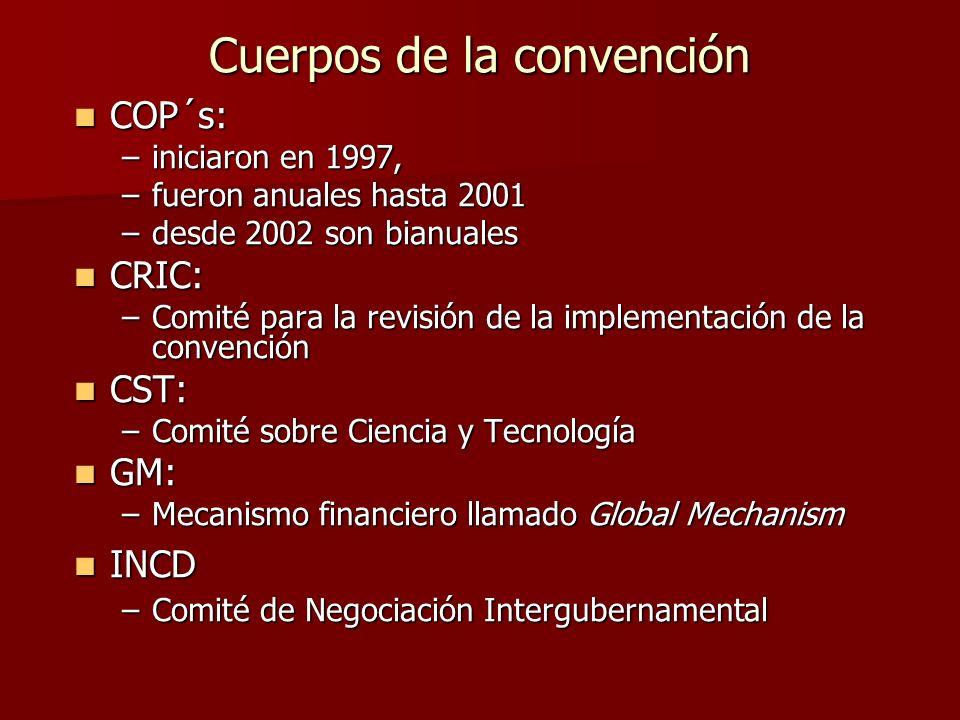 Cuerpos de la convención COP´s: COP´s: –iniciaron en 1997, –fueron anuales hasta 2001 –desde 2002 son bianuales CRIC: CRIC: –Comité para la revisión d
