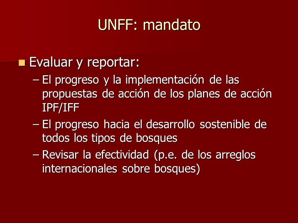 UNFF: mandato Evaluar y reportar: Evaluar y reportar: –El progreso y la implementación de las propuestas de acción de los planes de acción IPF/IFF –El