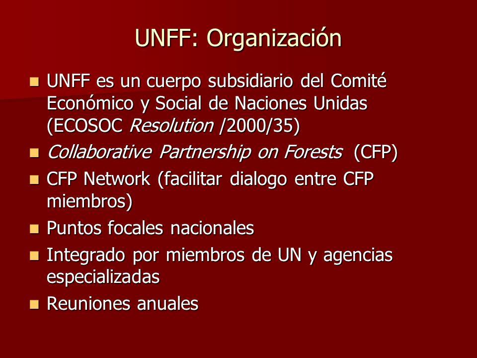 UNFF: Organización UNFF es un cuerpo subsidiario del Comité Económico y Social de Naciones Unidas (ECOSOC Resolution /2000/35) UNFF es un cuerpo subsi
