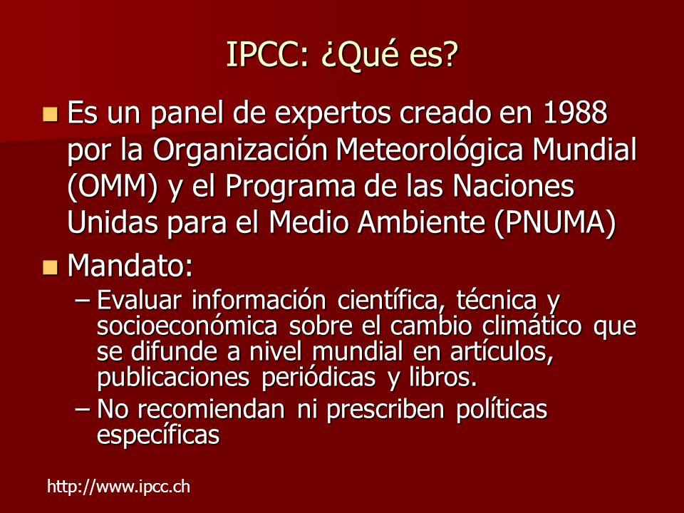 IPCC: ¿Qué es? Es un panel de expertos creado en 1988 por la Organización Meteorológica Mundial (OMM) y el Programa de las Naciones Unidas para el Med