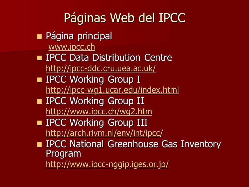 Páginas Web del IPCC Página principal Página principal www.ipcc.ch www.ipcc.chwww.ipcc.ch IPCC Data Distribution Centre IPCC Data Distribution Centre