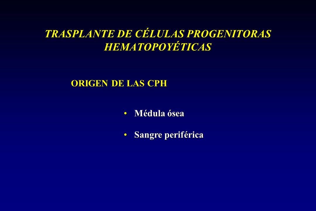 TRASPLANTE DE CÉLULAS PROGENITORAS HEMATOPOYÉTICAS ORIGEN DE LAS CPH Médula óseaMédula ósea Sangre periféricaSangre periférica