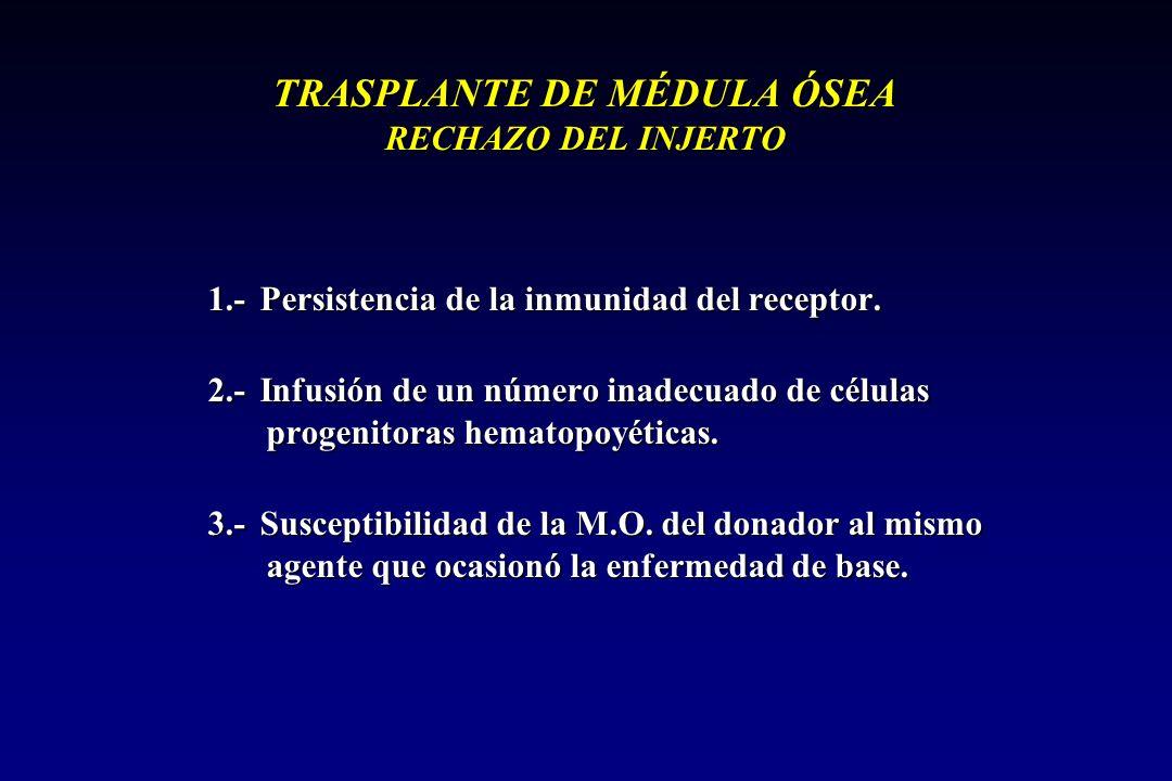 TRASPLANTE DE MÉDULA ÓSEA RECHAZO DEL INJERTO 1.- Persistencia de la inmunidad del receptor.