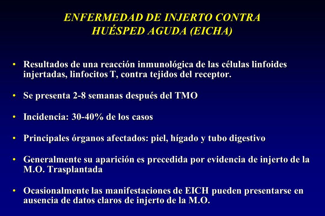 ENFERMEDAD DE INJERTO CONTRA HUÉSPED AGUDA (EICHA) Resultados de una reacción inmunológica de las células linfoides injertadas, linfocitos T, contra tejidos del receptor.Resultados de una reacción inmunológica de las células linfoides injertadas, linfocitos T, contra tejidos del receptor.