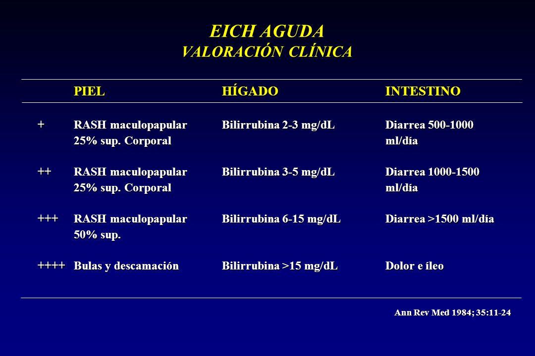 EICH AGUDA VALORACIÓN CLÍNICA PIEL HÍGADO INTESTINO + RASH maculopapular Bilirrubina 2-3 mg/dL Diarrea 500-1000 25% sup. Corporal ml/día ++ RASH macul