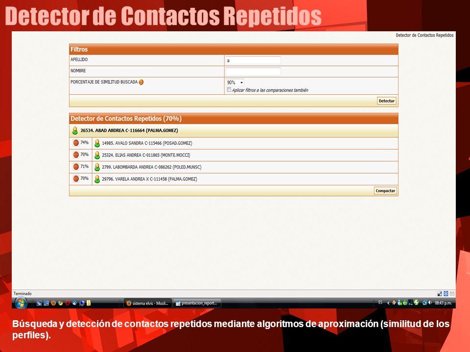 Detector de Contactos Repetidos Búsqueda y detección de contactos repetidos mediante algoritmos de aproximación (similitud de los perfiles).