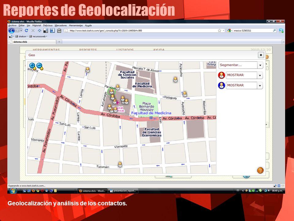 Reportes de Geolocalización Geolocalización y análisis de los contactos.