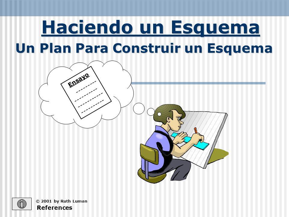 Haciendo un Esquema References © 2001 by Ruth Luman Un Plan Para Construir un Esquema Ensayo --------- ---------- ----------- ----------
