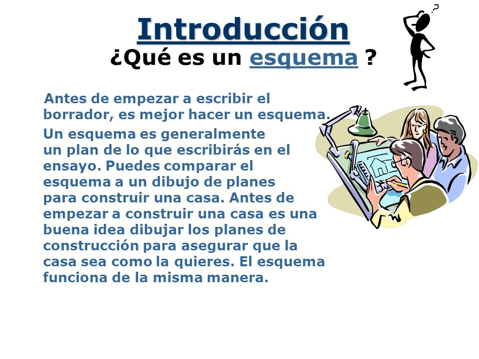 Haciendo un Esquema References © 2001 by Ruth Luman Un Plan Para Construir un Esquema Ensayo --------- ---------- ----------- ----------