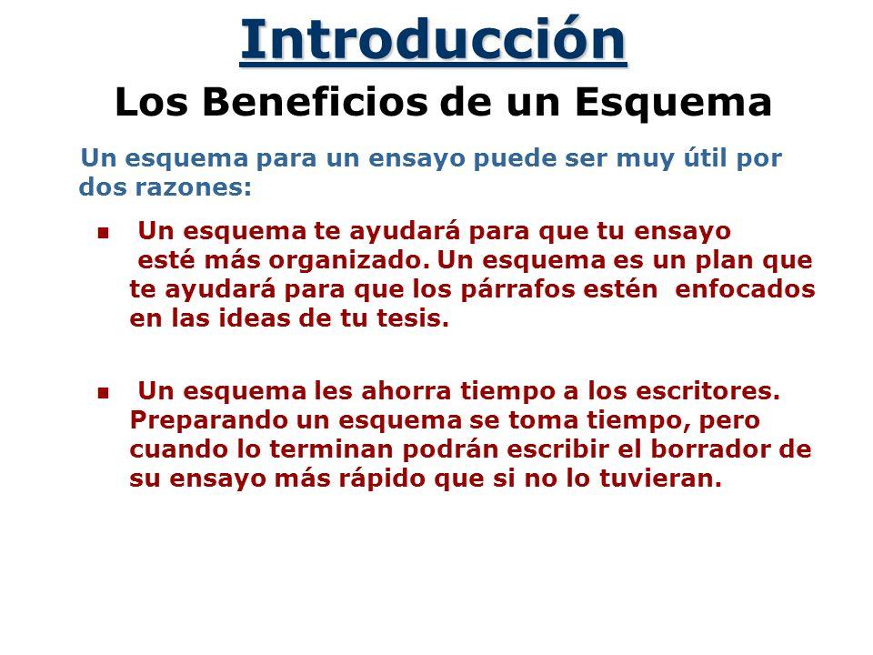 Introducción Los Beneficios de un Esquema Un esquema para un ensayo puede ser muy útil por dos razones: Un esquema te ayudará para que tu ensayo esté más organizado.