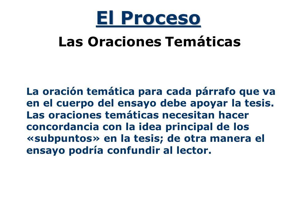 El Proceso Las Oraciones Temáticas La oración temática para cada párrafo que va en el cuerpo del ensayo debe apoyar la tesis.