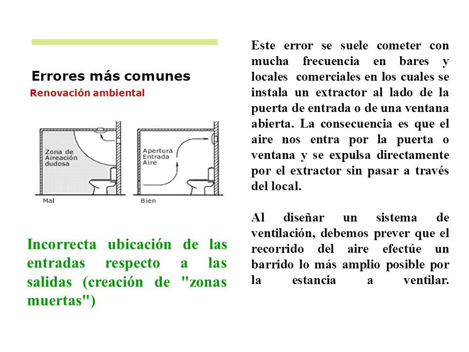 Errores más comunes Renovación ambiental Incorrecta ubicación de las entradas respecto a las salidas (creación de