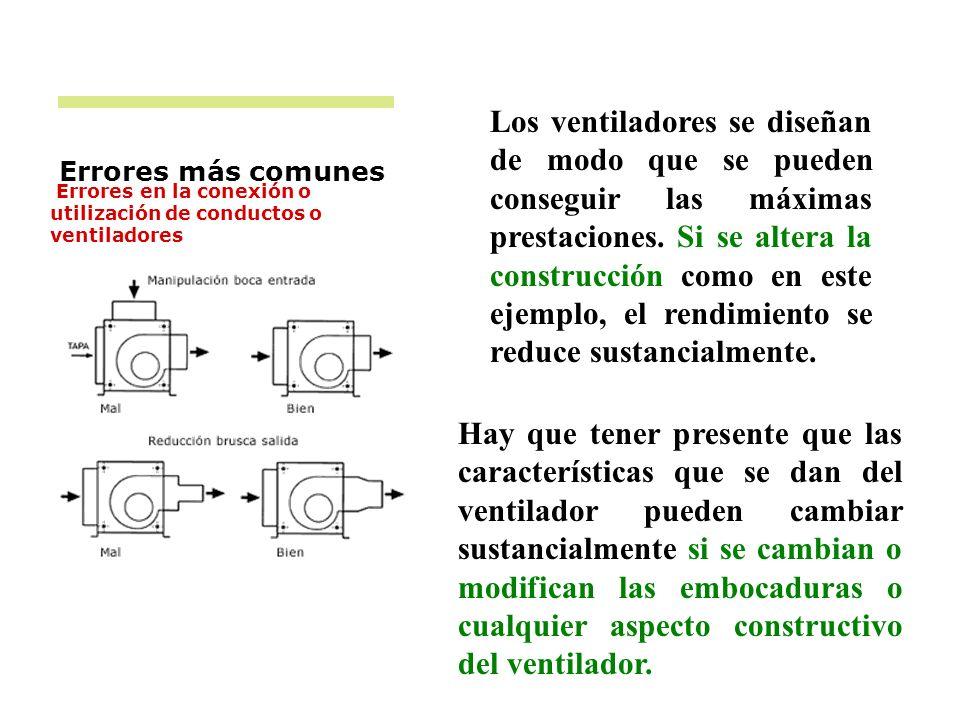 Errores más comunes Errores en la conexión o utilización de conductos o ventiladores Los ventiladores se diseñan de modo que se pueden conseguir las m