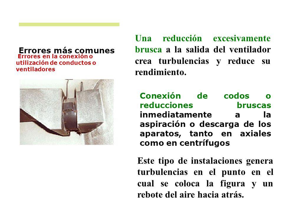 Errores más comunes Errores en la conexión o utilización de conductos o ventiladores Este tipo de instalaciones genera turbulencias en el punto en el