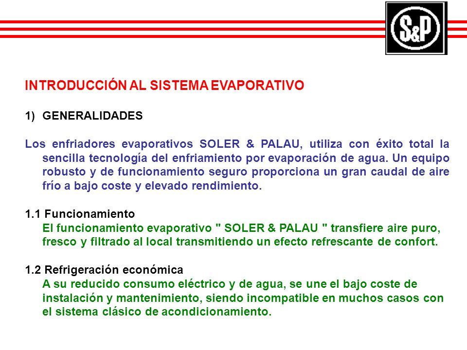 INTRODUCCIÓN AL SISTEMA EVAPORATIVO 1)GENERALIDADES Los enfriadores evaporativos SOLER & PALAU, utiliza con éxito total la sencilla tecnología del enf