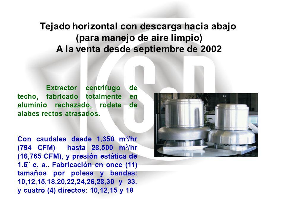 Tejado horizontal con descarga hacia abajo (para manejo de aire limpio) A la venta desde septiembre de 2002 Extractor centrífugo de techo, fabricado t