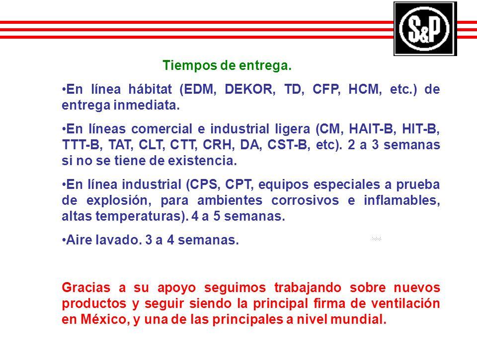 Tiempos de entrega. En línea hábitat (EDM, DEKOR, TD, CFP, HCM, etc.) de entrega inmediata. En líneas comercial e industrial ligera (CM, HAIT-B, HIT-B
