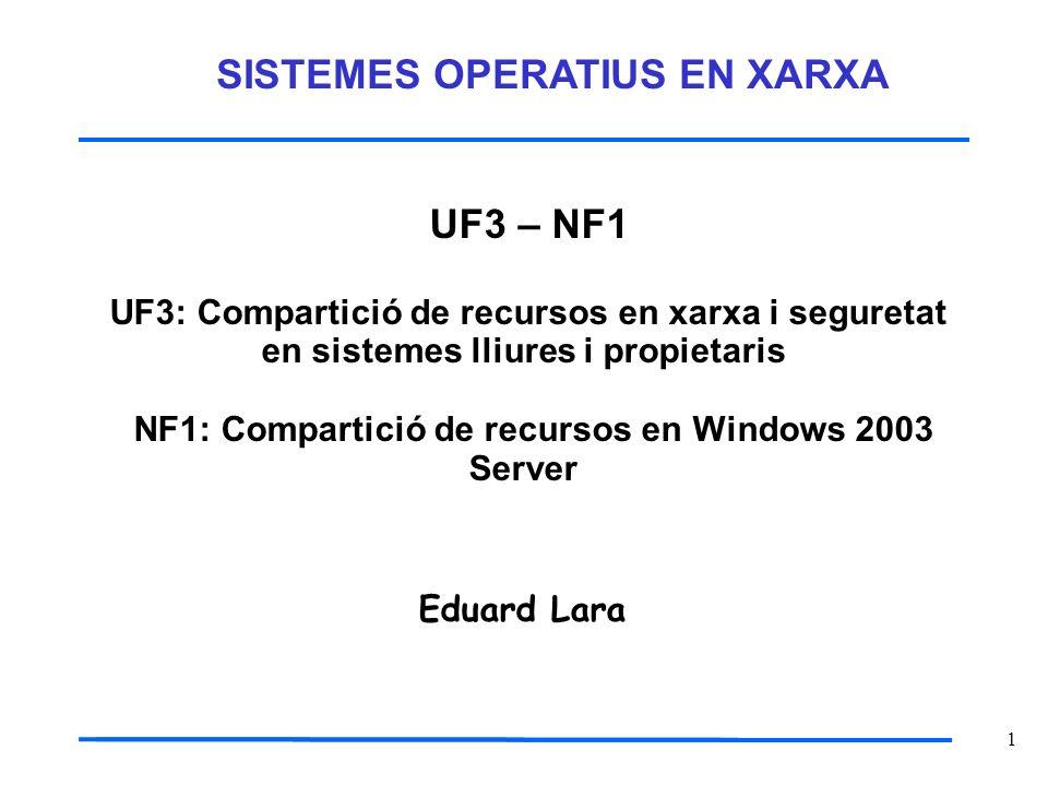 1 UF3 – NF1 UF3: Compartició de recursos en xarxa i seguretat en sistemes lliures i propietaris NF1: Compartició de recursos en Windows 2003 Server Ed