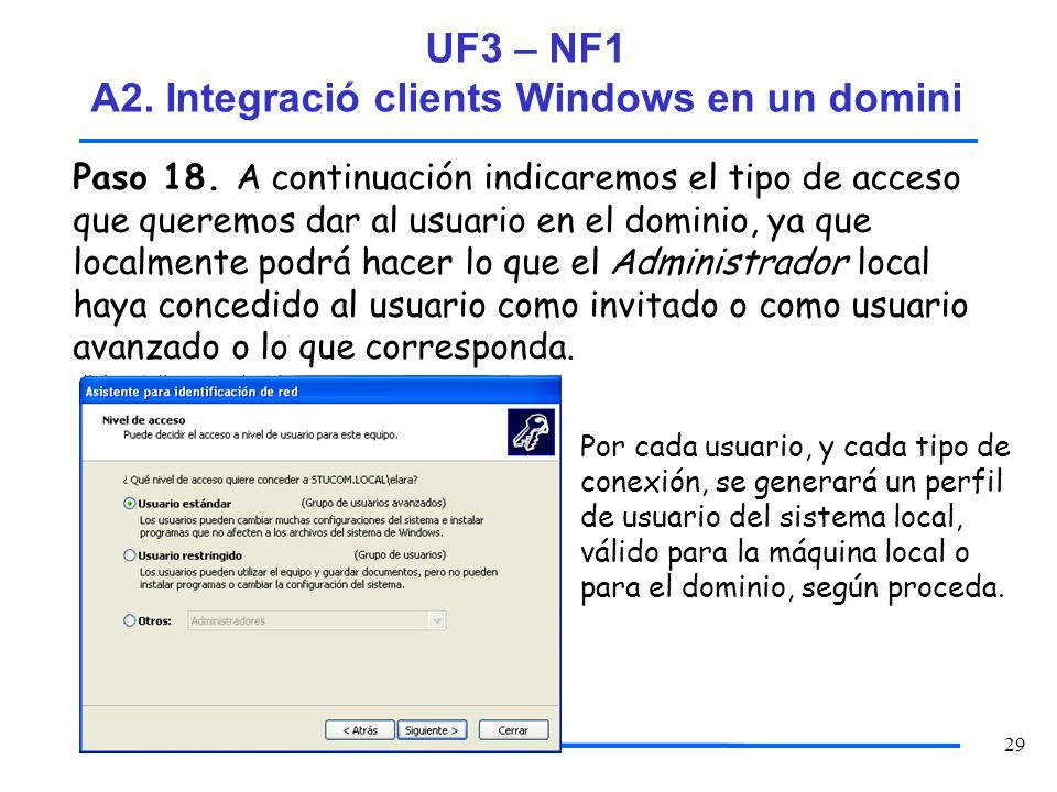 29 Paso 18. A continuación indicaremos el tipo de acceso que queremos dar al usuario en el dominio, ya que localmente podrá hacer lo que el Administra