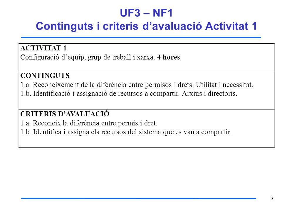 3 UF3 – NF1 Continguts i criteris davaluació Activitat 1 ACTIVITAT 1 Configuració dequip, grup de treball i xarxa. 4 hores CONTINGUTS 1.a. Reconeixeme