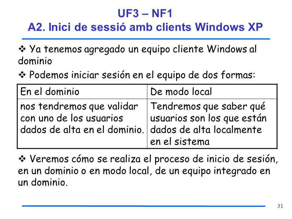 31 Ya tenemos agregado un equipo cliente Windows al dominio Podemos iniciar sesión en el equipo de dos formas: Veremos cómo se realiza el proceso de i