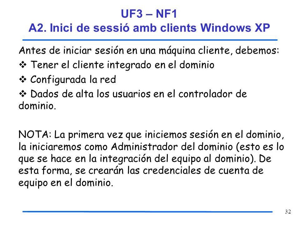 32 Antes de iniciar sesión en una máquina cliente, debemos: Tener el cliente integrado en el dominio Configurada la red Dados de alta los usuarios en