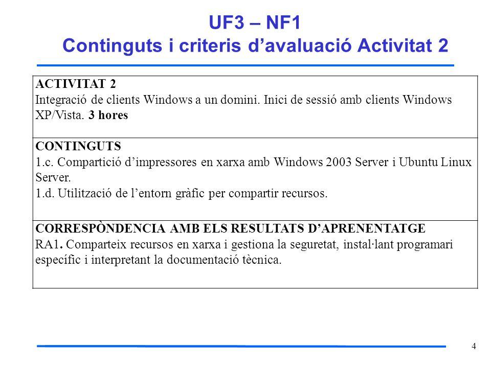 5 UF3 – NF1 Continguts i criteris davaluació Activitat 2 ADEQUACIÓ DEL CONTINGUTS AL CURS O NIVELL DE LALUMNAT Representa una activitat de nivell mig de realització per lalumnat, com és la integració de clients windows en un domini, activitat molt important i necessari per a la centralització de recursos duna xarxa que proposa el servei de Directori Actiu del windows 2003 Server.