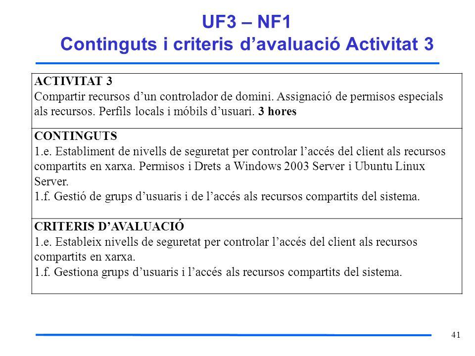 41 UF3 – NF1 Continguts i criteris davaluació Activitat 3 ACTIVITAT 3 Compartir recursos dun controlador de domini. Assignació de permisos especials a
