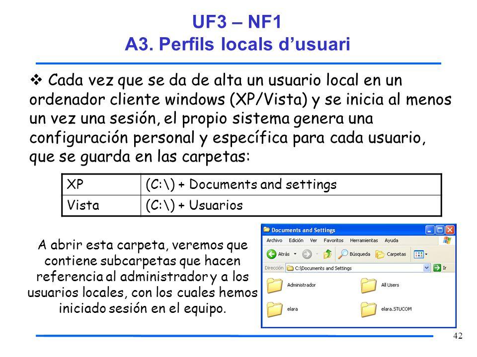 42 Cada vez que se da de alta un usuario local en un ordenador cliente windows (XP/Vista) y se inicia al menos un vez una sesión, el propio sistema ge