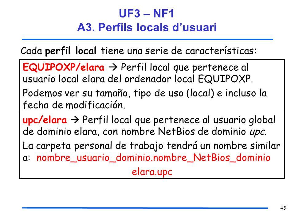 45 Cada perfil local tiene una serie de características: EQUIPOXP/elara Perfil local que pertenece al usuario local elara del ordenador local EQUIPOXP