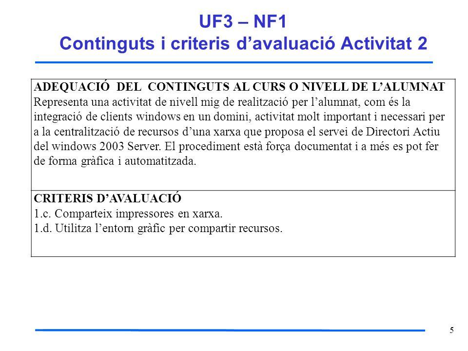 5 UF3 – NF1 Continguts i criteris davaluació Activitat 2 ADEQUACIÓ DEL CONTINGUTS AL CURS O NIVELL DE LALUMNAT Representa una activitat de nivell mig