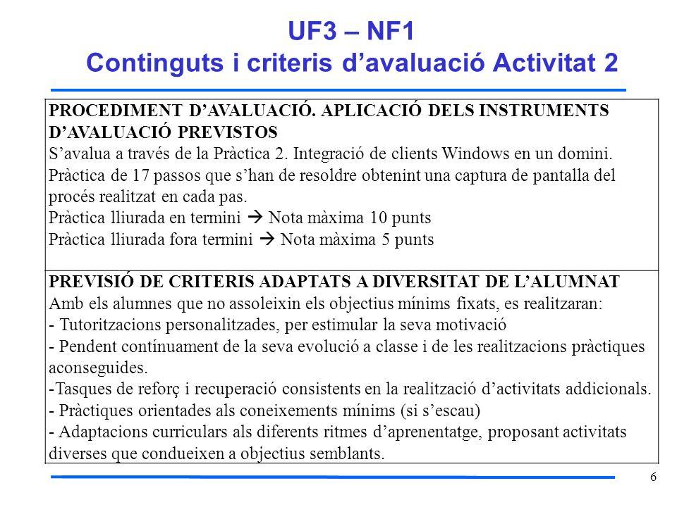 6 UF3 – NF1 Continguts i criteris davaluació Activitat 2 PROCEDIMENT DAVALUACIÓ. APLICACIÓ DELS INSTRUMENTS DAVALUACIÓ PREVISTOS Savalua a través de l