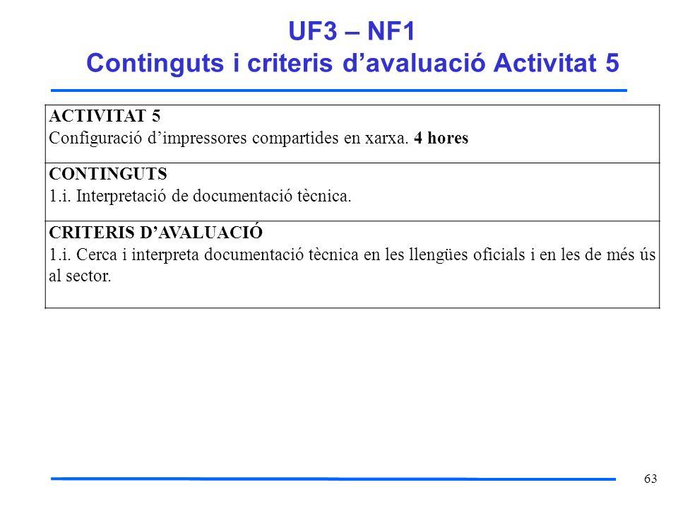 63 UF3 – NF1 Continguts i criteris davaluació Activitat 5 ACTIVITAT 5 Configuració dimpressores compartides en xarxa. 4 hores CONTINGUTS 1.i. Interpre