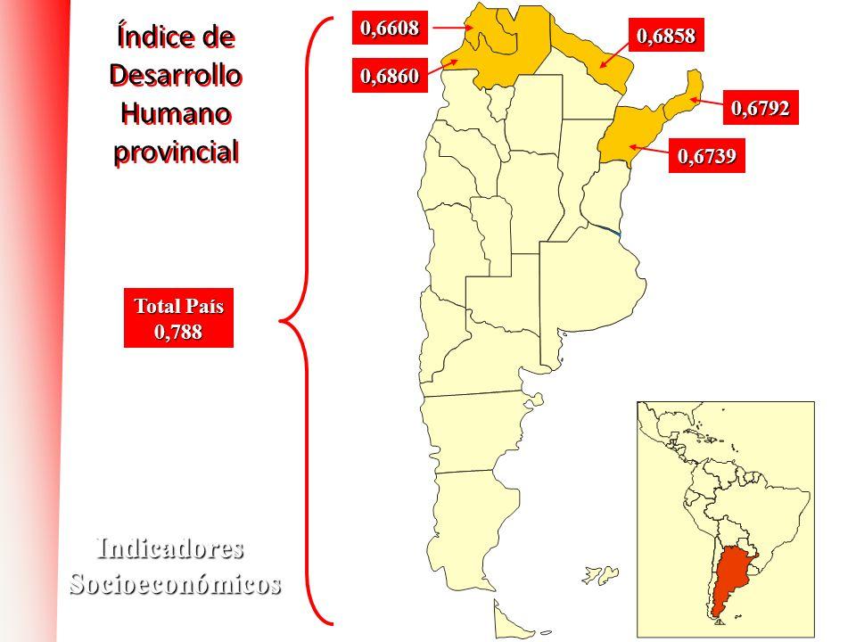 Índice de Desarrollo Humano provincial 0,6739 0,6792 0,6860 Total País 0,788 0,6858 0,6608 IndicadoresSocioeconómicos