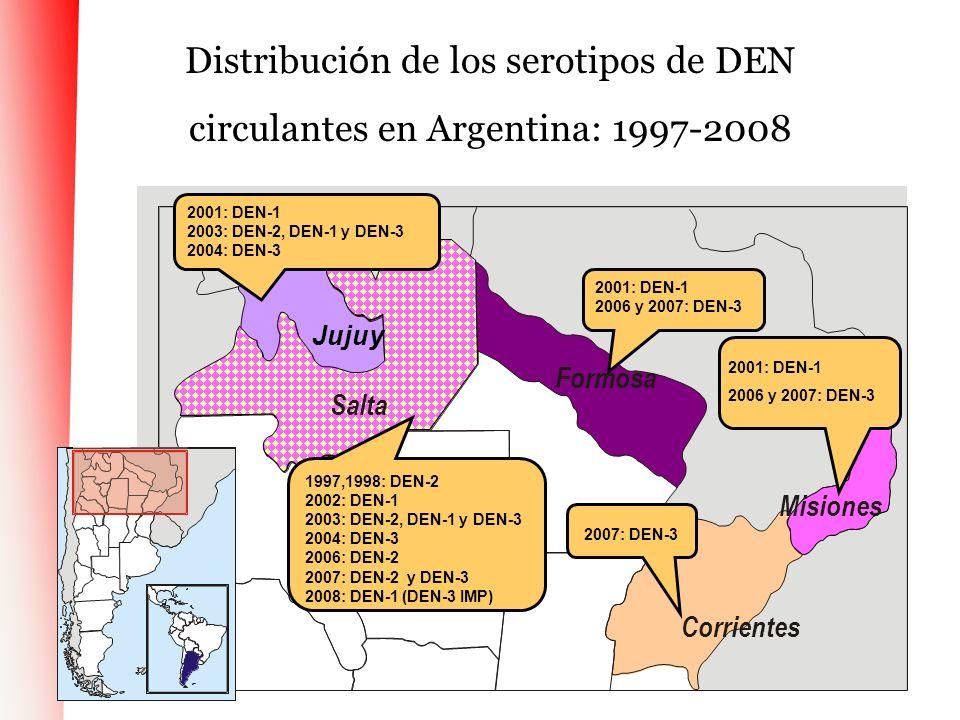 Distribuci ó n de los serotipos de DEN circulantes en Argentina: 1997-2008 Formosa Misiones Salta Corrientes 1997,1998: DEN-2 2002: DEN-1 2003: DEN-2,