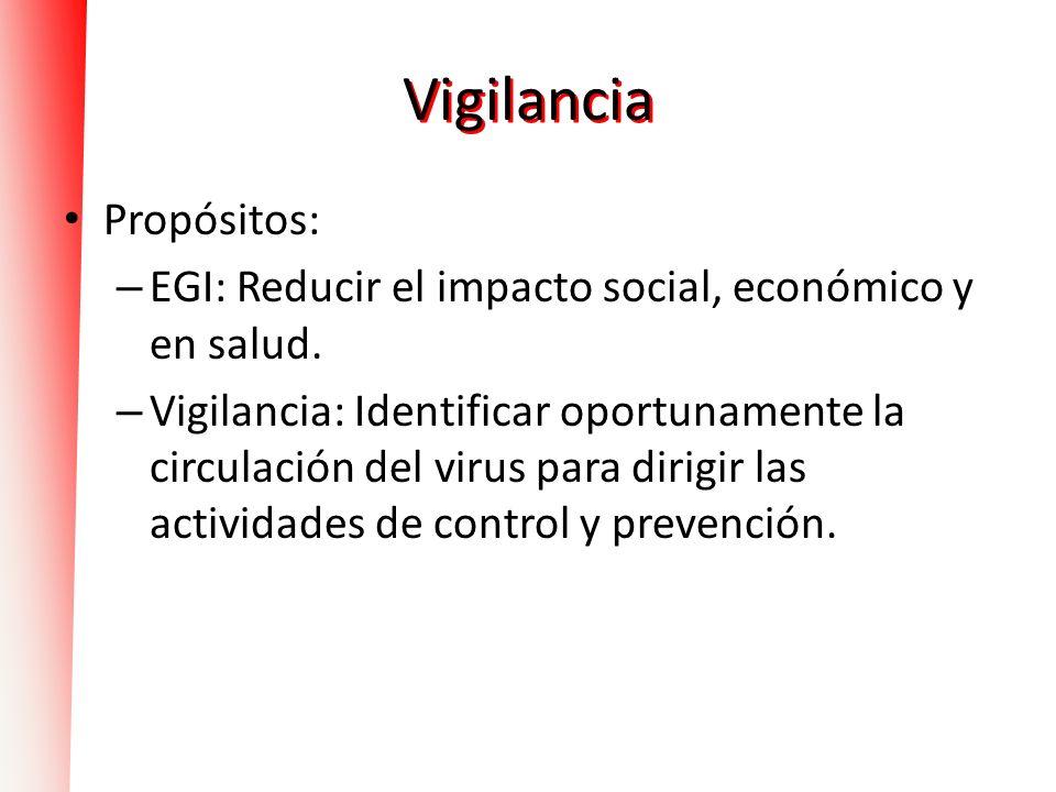 Vigilancia Propósitos: – EGI: Reducir el impacto social, económico y en salud. – Vigilancia: Identificar oportunamente la circulación del virus para d
