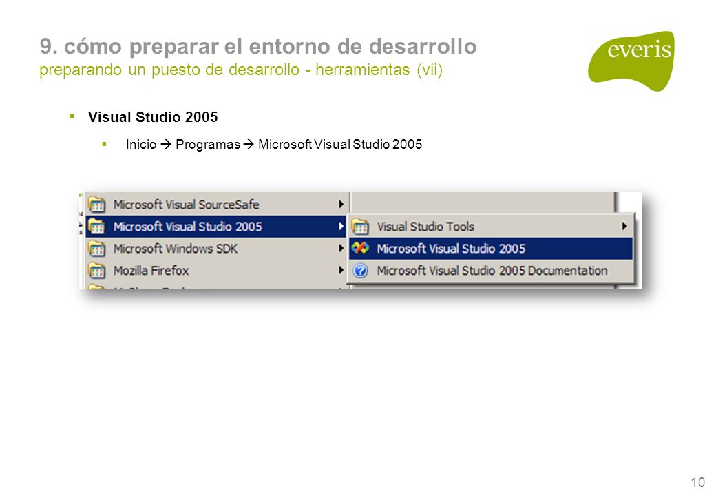 10 Visual Studio 2005 Inicio Programas Microsoft Visual Studio 2005 9.