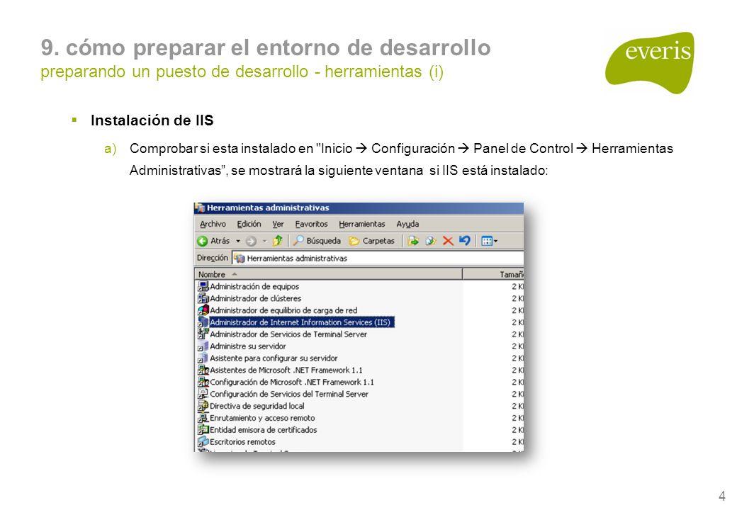 4 9. cómo preparar el entorno de desarrollo preparando un puesto de desarrollo - herramientas (i) Instalación de IIS a)Comprobar si esta instalado en