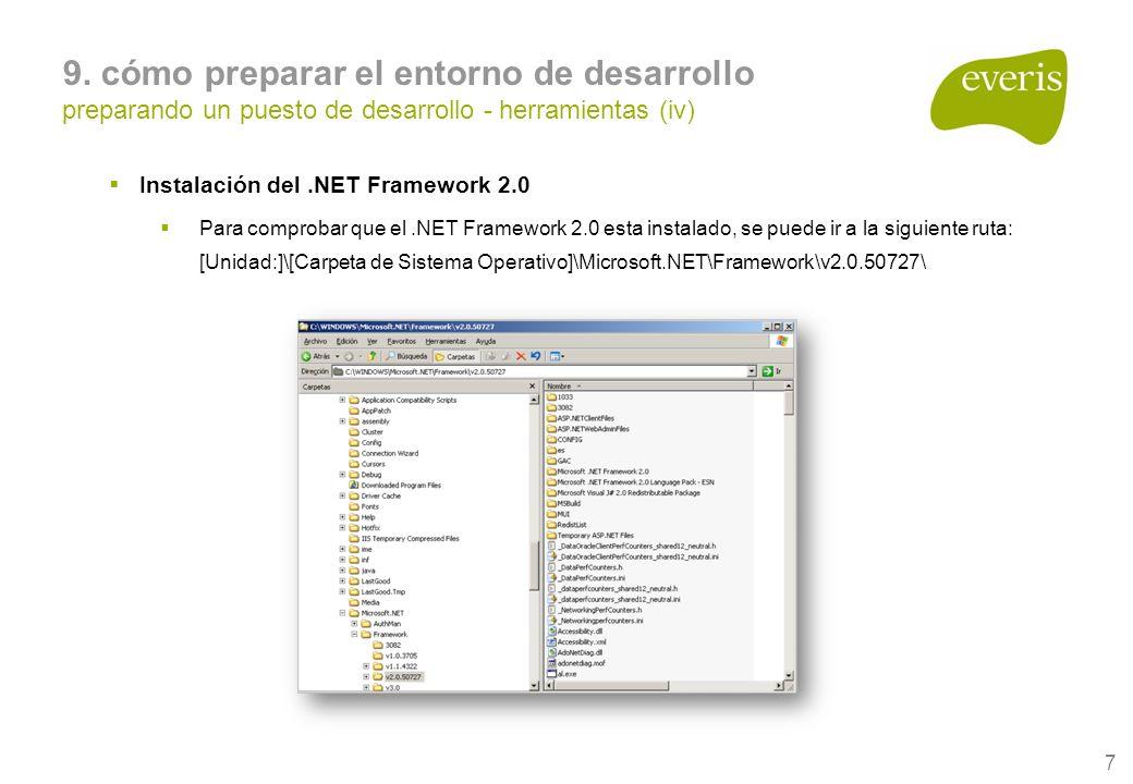 7 9. cómo preparar el entorno de desarrollo preparando un puesto de desarrollo - herramientas (iv) Instalación del.NET Framework 2.0 Para comprobar qu